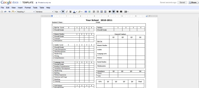 School Report Card Template Excel  BesikEightyCo